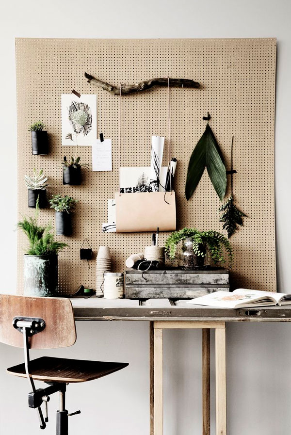 Functional Decor Ideas - Workspace Pegboard Desk