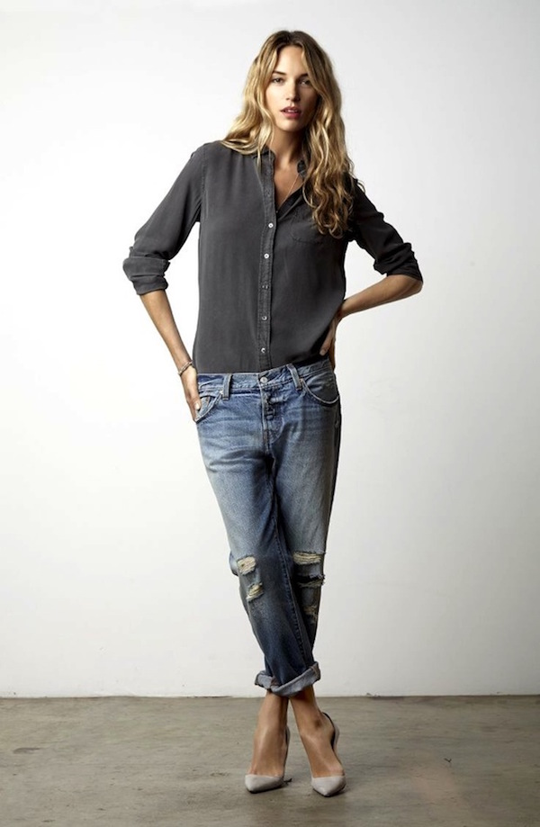 Le-Fashion-Blog-Casual-Chic-Inspiration-Effortless-Waves-Classic-Button-Down-Shirt-Distressed-Boyfriend-Jeans-Light-Grey-Suede-Heels