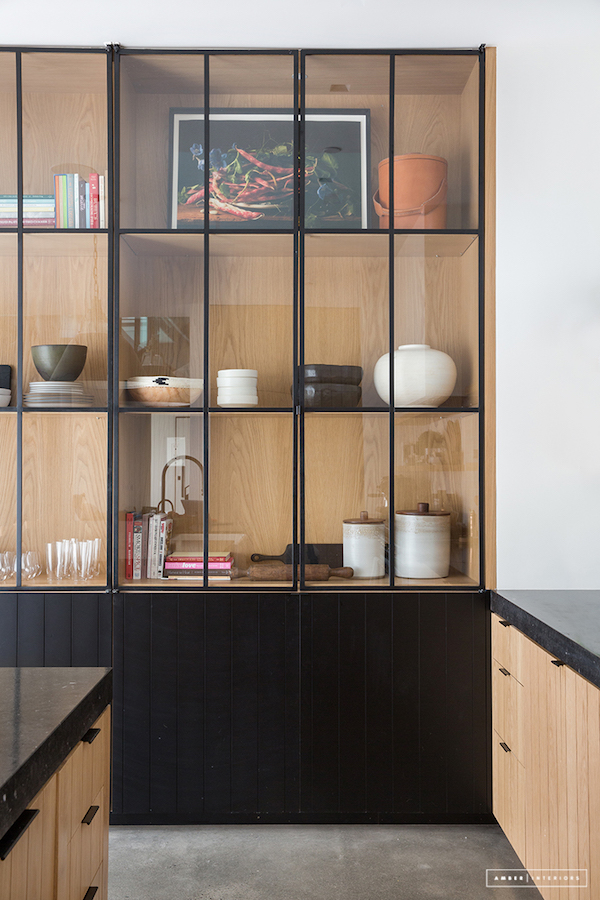 idea to steal: enclosed glass shelving on apartment 34